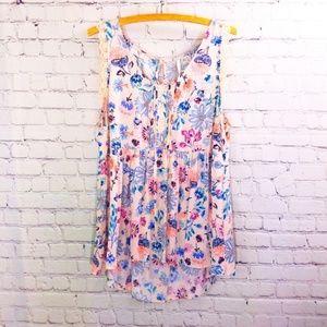 LC  Lauren Conrad Pink Floral Tank Lace Detail XL